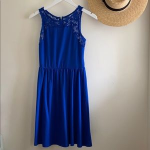 Blue dress with crocheted neck